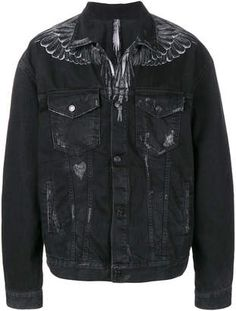 Marcelo Burlon County of Milan denim wing print jacket Balmain, Black Wings, Print Jacket, Slim Jeans, Black Cotton, Printed Cotton, Milan, Fashion Looks, Leather Jacket
