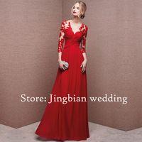 Robe De soirée Sexy V pescoço Longo Vestido De noite vermelho 2016 com apliques e Vestido De Festa Longo vestidos Abendkleider