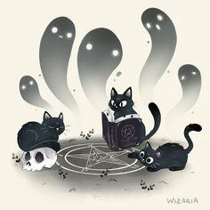 Chat Kawaii, Character Art, Character Design, Arte Sketchbook, Witch Art, Cute Animal Drawings, Creepy Cute, Cat Drawing, Halloween Art
