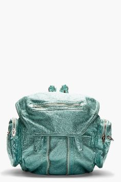Alexander Wang metallic aqua backpack