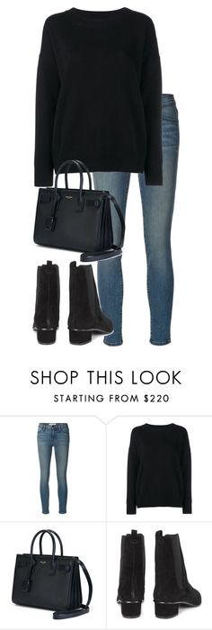 """""""Untitled #2657"""" by elenaday ❤ liked on Polyvore featuring Frame Denim, Yves Saint Laurent and Ash"""
