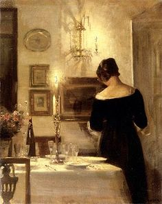 Carl Vilhelm Holsoe (Danish Artist, 1863-1935) In the Dining Room.