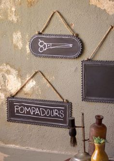 hanging chalkboards with ruffled edges