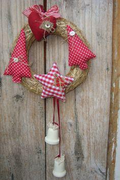 Garievi - Piros -fehér #country koszorú - karácsonyi ajtódísz, kopogtató, koszorú, Karácsonyi, adventi apróságok, Otthon, lakberendezés, #xmas