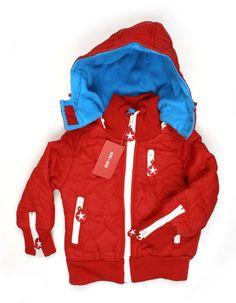 Red winterjacket for kids with white details - Kik*Kid