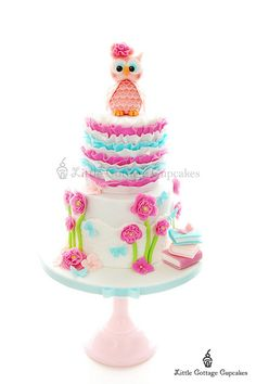 Gorgeous Owl Cake! love the combination of colours.