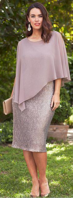 Stretch shiny fabric dress with overlay chiffon