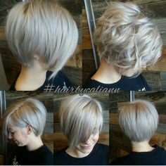 Ooh, love this ashy platinum grey longer pixie, looks great straight or messy and curled, I'd do something edgier though as far as styling goes.