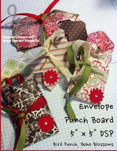 """Envelope Punch Board I made those little treat holders (gift card holder or business card holders) with a piece of 5"""" x 5"""" DSP and the Envelope Punch Board. They are easy to make and cute!"""