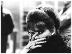 """Claudia Cardinale on the set of """"8 1/2"""" directed by Federico Fellini, 1963. Photo by Tazio Secchiaroli"""