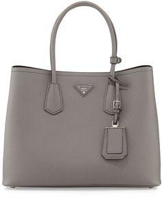 Luxury in gray, Prada Saffiano Cuir Double Bag, Gray (Marmo)