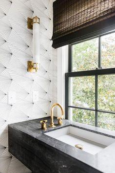 Freestanding Vanity Bathroom Vanity with freestanding vanity and Erica Wakerly F… – Marble Bathroom Dreams Mold In Bathroom, Bathroom Red, Bathroom Wallpaper, Vanity Bathroom, Print Wallpaper, Bathroom Ideas, Bathroom Designs, Bathroom Faucets, Wall Paper Bathroom