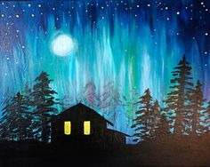 Paint Nite Pittsburgh | Cabin in Northern Lights- Arena Sports Grille 12/01/2015