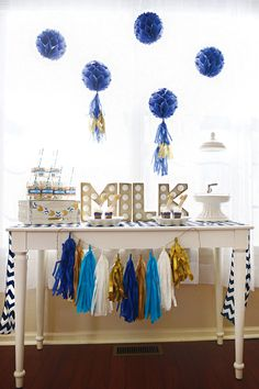 Milk & Cookie Buffets for a Cookie Monster party