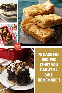 These great cake mix recipes use the store-bought mix as an ingredient, not an end point. Your gorgeous dessert will still be distinctive and delicious—and look nothing like the photo on the box. Cake Mix Recipes, Bar Recipes, Potluck Desserts, Feeding A Crowd, Dessert Bars, Recipe Using, Homemade, Cakes, Dishes