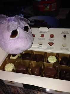 Michaella in her trip to DK eating chocolates