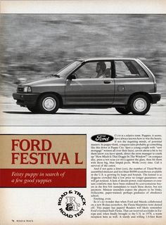 Another road test is up from R&T's 1987 July issue of this small ford. No, it's a Kia! Ford Festiva, Kia Pride, Car Advertising, Ford Motor Company, Retro Cars, My Ride, Car Stuff, Mazda, Cars And Motorcycles