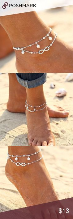 Double strand infinity pearl drop ankle bracelet. Beautiful Summer Beach Ankle Bracelet Foot Jewelry Infinity  & Pearl Bead Silver Chain Anklets. This is a pre-order item expected arrival end of May. Pre-order items are discounted 10% for your patience. Please ask for a pre-order listing to be created if you are interested. Jewelry Bracelets