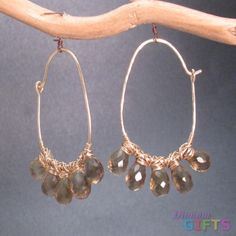 """Half round hoops wrapped with whiskey quartz, 1-3/4"""" Earring Gold Or Silver"""