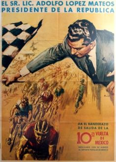 Cycling Vuelta de Mexico, 1950s - original vintage poster listed on AntikBar.co.uk