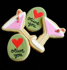 perfect for valentine's day...or fridays. ;) ::: Olive You! (Martini & Olive Valentine Cookies)