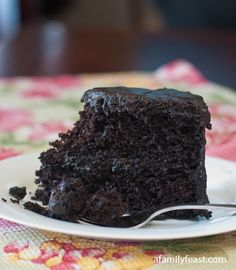 Nanny's Black Midnight Cake - This recipe is an updated version of a cake that my husband's mother used to bake for many years.  It's a super moist and delicious chocolate cake with a sweet, dark chocolate frosting.  Perfection!