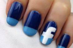 Facebook nails, so cute :x