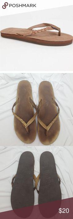 "Rainbow Braided Leather Flip Flop ""Flirty"" Braided Leather Flip Flop by Rainbow Condition: Used. (Pics) Size: extra large 8.5-9.5 Rainbow Shoes Sandals"