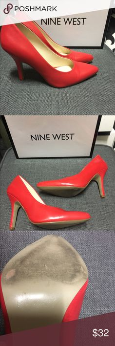 Red Nine West Pumps ‼️PRICE DROP‼️ Pair these firey red pumps with your favorite skinnies and a tee, a classically tailored dress or just about anything else! The color is everything and looks so pretty against tan spring-summer skin. 👠❤ Worn about 3 times, in excellent condition. 3.5 inch heel. #redhot #sass #youneedthese Nine West Shoes Heels