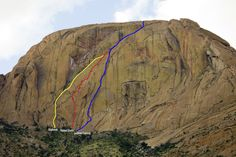 Majka Burhardt, Peter Doucette, and Kate Rutherford have climbed two new big wall routes: Southern Crossing (V 5.11+) and Painted Giraffe (V 5.9+), on the 1300-foot Orabeskopf Wall  in Southeastern Africa. The massive golden, granite wall is located on the Brandberg, Namibia's highest peak, with a summit just over 7,000 feet.But that's only part of the story. There's also a 2,000+ year-old painted giraffe, 108-degree temperatures, eight days at 15km/hour over washboard roads, scorpions…