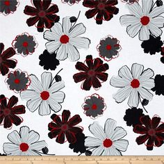 Cherry Pop Large Floral White from @fabricdotcom  Designed by Amy Shaw for Wilmington Prints, this cotton print is great for quilting, apparel and home decor accents. Colors include red, black, grey and white.
