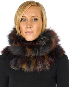 Multicolored Fox Fur Tara Pullover Scarf -Brand: FRR