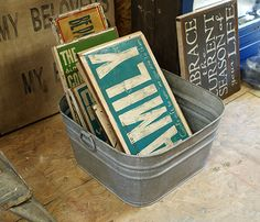 Best tutorial on how to make distressed wood signs.  . Print Shop 23 Deluxe for fonts etc.