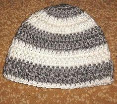 Newborn Baby Boy or Girl Gray White Crochet Beanie Hat Shower Handmade NB 0-3 mo