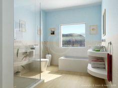 Badezimmer, schönes blau mit sandfarben. Wirkt wie Urlaub am Meer!