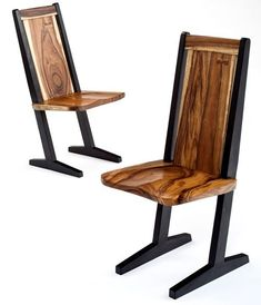 Wood Chair Design - Shown with Natural Finish on Back & Seat with Painted Black Legs - Item #