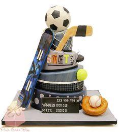Brett's Sports Themed Bar Mitzvah Cake by Pink Cake Box in Denville, NJ. Bar Mitzvah Themes, Bat Mitzvah, Sports Themed Cakes, Pink Cake Box, My Birthday Cake, 70th Birthday, Birthday Ideas, Sport Cakes, Cake Wrecks