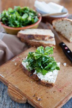 Mozzarella, salad & homemade sourdough sandwich via Juls Kitchen