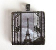 Eiffel Tower  Paris Grey Cloudy Day  Glass by CapturedStarlight