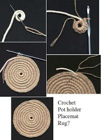 Best 11 Crochet Rug or heat pad if you get bored at about 12 Col Crochet, Crochet Home, Crochet Motif, Crochet Designs, Crochet Stitches, Crochet Patterns, Diy Crochet Rope Basket, Rope Rug, Rope Crafts