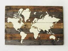 World Map On Pallet Wood so we can pin our travels on this Earth