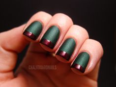 Dark mate green and metallic red tip