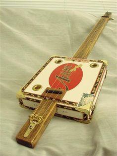 Cigar Box Guitar 3 string fretless electric blues by TimGreenhalgh, $229.00