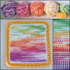 This potholder was crocheted using five different variegated and ombre yarns for a watercolor effect.
