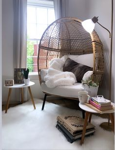 I'm a big fan of utilizing outdoor furniture for indoor projects. Take this Better Homes and Gardens Ventura Boho Stationary Wicker Egg Chair, add some throws, a cute pillow, fuzzy rug, and a couple of books to complete an indoor cozy corner ✨ Room Ideas Bedroom, Decor Room, Home Decor, Book Corner Ideas Bedroom, Bedroom Corner, Modern Bedroom Decor, Bedroom Seating, Bedroom Chair, Seating Room Ideas