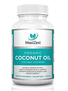 Extra Virgin Organic Coconut Oil Capsules 1000mg  Enhances Skin Hair  Nails  Supports Heart  Brain Health Digestion  Healthy Weight Loss  Natural Source of MCTs  180 Softgels >>> Continue to the product at the image link.