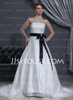 Wedding Dresses - $239.99 - A-Line/Princess Strapless Chapel Train Satin Lace Wedding Dress With Sash Beadwork Crystal Brooch (002000371) http://jjshouse.com/A-Line-Princess-Strapless-Chapel-Train-Satin-Lace-Wedding-Dress-With-Sash-Beadwork-Crystal-Brooch-002000371-g371