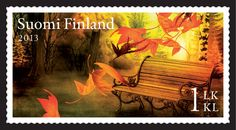 syksyn merkit 5 > Puistonpenkki Stamp Collecting, Postage Stamps, Finland, World, Outdoor Decor, Painting, Design, Paper, Collection