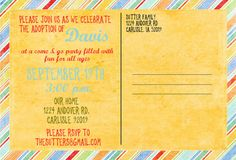 Adoption Announcement  a cute double sided by gwenmariedesigns, $15.00