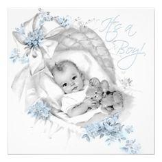 Blue Bassinet Vintage Baby Boy Shower Invitation